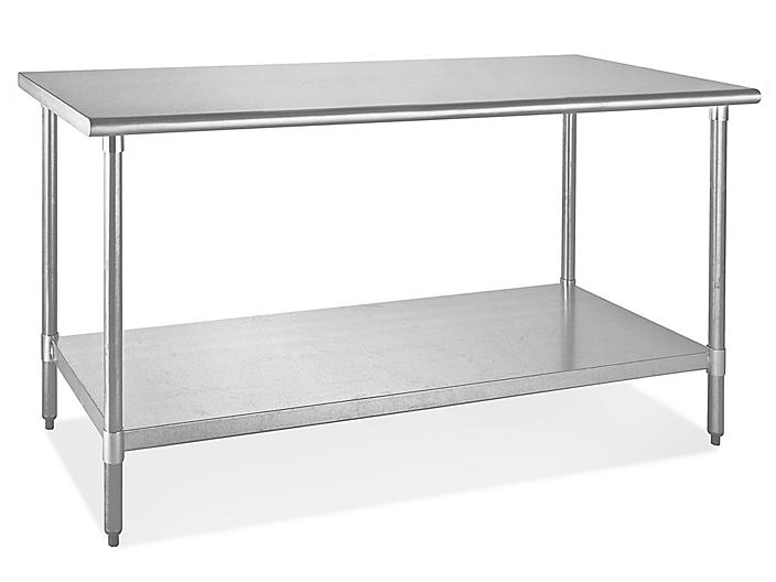 """Standard Stainless Steel Worktable with Bottom Shelf - 60 x 30"""" H-5000"""