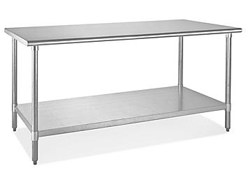 """Standard Stainless Steel Worktable with Bottom Shelf - 72 x 30"""" H-5001"""