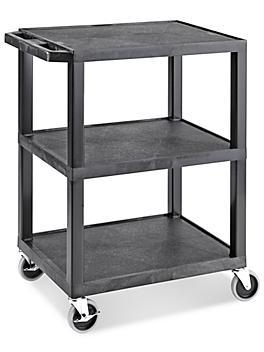 "Uline 3-Shelf Utility Cart with Flat Shelves - 27 x 18 x 34"""