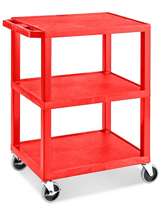 """Uline 3-Shelf Utility Cart with Flat Shelves - 27 x 18 x 34"""", Red H-5007R"""
