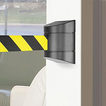 Uline Crowd Control with Retractable Belt - Wall Mount, Black/Yellow, 30' H-5099