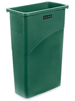 Uline Thin Trash Can - 23 Gallon, Green H-5148G