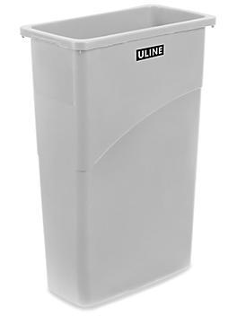 Uline Thin Trash Can - 23 Gallon, Gray H-5148GR