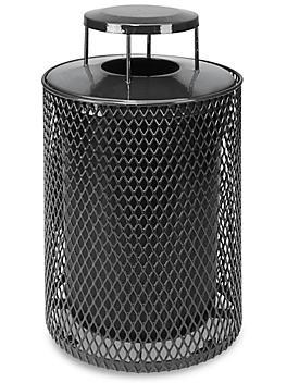 Thermoplastic Trash Can - 32 Gallon, Bonnet Lid, Black H-5154BL