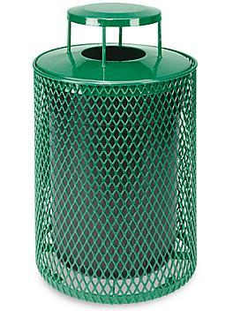 Thermoplastic Trash Can - 32 Gallon, Bonnet Lid, Green H-5154G