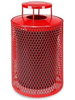 Thermoplastic Trash Can - 32 Gallon, Bonnet Lid, Red H-5154R