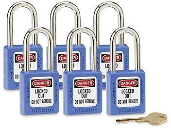 "Master Lock® Lockout Padlock - Keyed Alike, 1 1/2"" Shackle, Blue H-5389BLU"