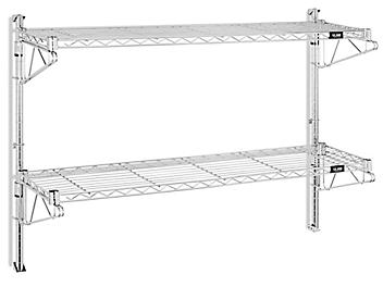 """Wall-Mount Wire Shelving - 48 x 12 x 34"""" H-5437"""