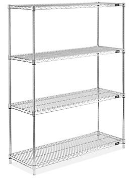 """Stainless Steel Wire Shelving Unit - 48 x 18 x 63"""" H-5472"""