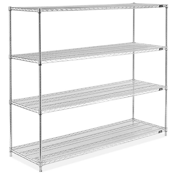 """Stainless Steel Wire Shelving Unit - 72 x 24 x 63"""" H-5478"""