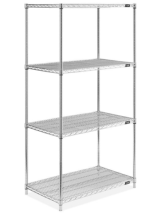 """Stainless Steel Wire Shelving Unit - 36 x 24 x 72"""" H-5480"""