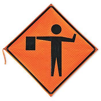 Roll-Up Traffic Sign - Flagger Symbol H-5495