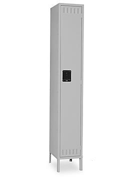 "Uline Industrial Lockers - Single Tier, 1 Wide, Assembled, 15"" Wide, 18"" Deep, Gray H-5528AGR"