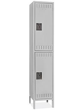 "Industrial Lockers - Double Tier, 1 Wide, Unassembled, 15"" Wide, 18"" Deep, Gray H-5532GR"