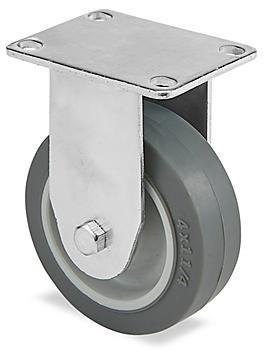 "Standard Rubber Caster - Rigid, 4 x 1 1/4"" H-5537R"