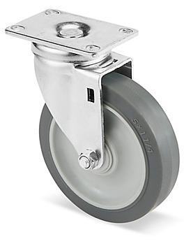 "Standard Rubber Caster - Swivel, 5 x 1 1/4"" H-5538S"