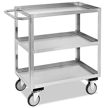 "Welded Stainless Steel Cart - 3 Shelf, 36 x 18 x 35"" H-5546"
