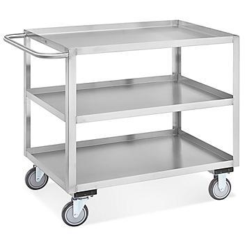 "Welded Stainless Steel Cart - 3 Shelf, 42 x 24 x 35"" H-5547"
