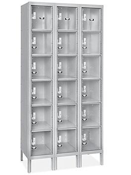 "Clear-View Locker - Six Tier, 3 Wide, Assembled, 36"" Wide, 18"" Deep, Gray H-5553AGR"