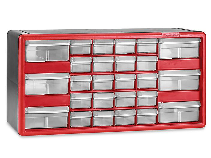 """Plastic Parts Cabinet - 26 Drawer, 20 x 7 x 11"""", Red H-5578R"""