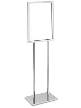 "Floor Standing Sign Holder - Single Tier, 14 x 22"", Chrome H-5712C"