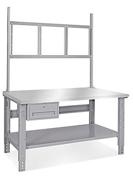 """Deluxe Workstation Starter Table - 60 x 36"""", Stainless Steel Top H-5769-SS"""