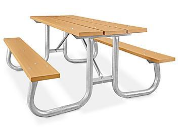 Recycled Plastic Steel Frame Picnic Table - 6', Cedar H-5870C