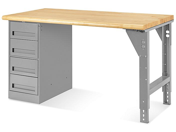"4 Drawer/1 Leg Pedestal Workbench - 60 x 30"", Maple Top H-5927-MAPLE"