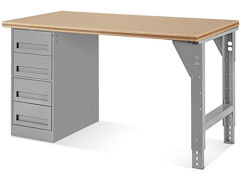 "4 Drawer/1 Leg Pedestal Workbench - 60 x 30"", Composite Wood Top H-5927-WOOD"