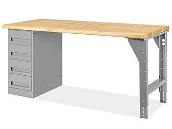 "4 Drawer/1 Leg Pedestal Workbench - 72 x 30"", Maple Top H-5928-MAPLE"