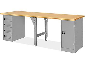 "4 Drawer/1 Cabinet Pedestal Workbench - 96 x 30"", Composite Wood Top H-5929-WOOD"