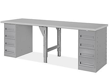 """4 Drawer/4 Drawer Pedestal Workbench - 96 x 30"""", Laminate Top H-5930-LAM"""