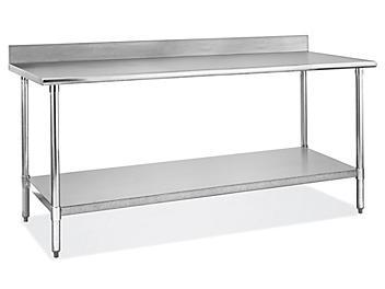 "Standard Stainless Steel Worktable with Backsplash and Bottom Shelf - 72 x 30"" H-6261"