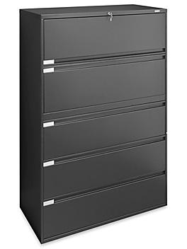 """Lateral File Cabinet - 42"""" Wide, 5 Drawer, Black H-6396BL"""