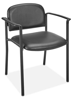 Vinyl Stackable Chair with Armrests - Black H-6523BL