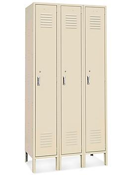 "Uline Single Tier Lockers - 3 Wide, Unassembled, 45"" Wide, 18"" Deep, Tan H-6742T"