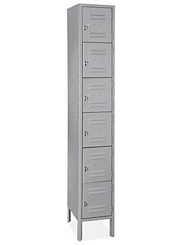 "Uline Six Tier Lockers - 1 Wide, Unassembled, 12"" Wide, 18"" Deep, Gray H-6745GR"