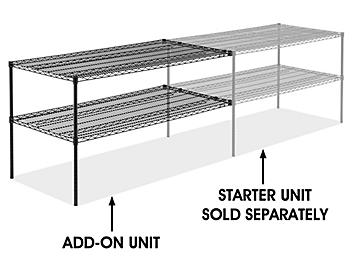 """Add-On Unit for Two-Shelf Wire Shelving - 60 x 30 x 34"""", Black H-6761-34ABL"""