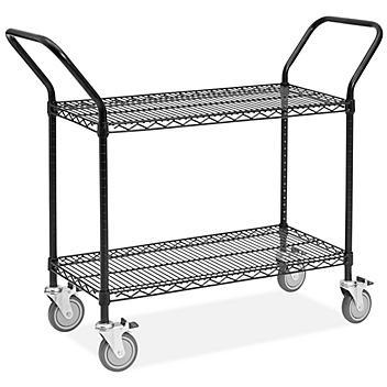 "Black Heavy-Duty Wire Cart - 48 x 18 x 41"" H-6786"
