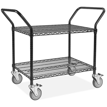 "Black Heavy-Duty Wire Cart - 48 x 24 x 41"" H-6787"