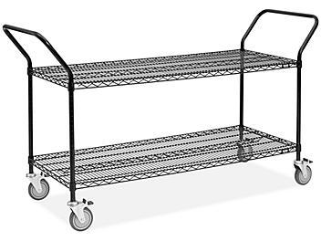 "Black Heavy-Duty Wire Cart - 60 x 24 x 41"" H-6788"