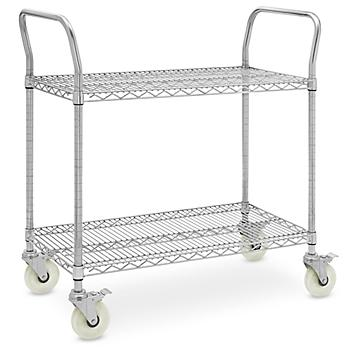 """Stainless Steel Wire Cart - 39 x 18 x 41"""" H-6819"""