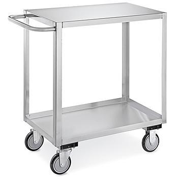 """Stainless Steel Flat Shelf Cart - 36 x 18 x 35"""" H-6825"""