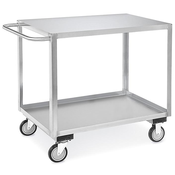 """Stainless Steel Flat Shelf Cart - 42 x 24 x 35"""" H-6826"""