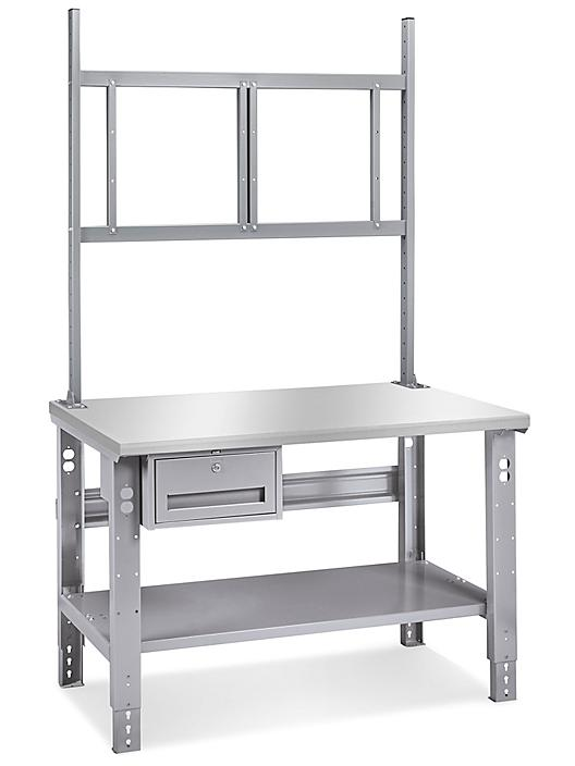 """Deluxe Workstation Starter Table - 48 x 36"""", Stainless Steel Top H-6844-SS"""