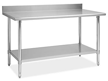 """Deluxe Stainless Steel Worktable with Backsplash and Bottom Shelf - 60 x 30"""" H-6917"""