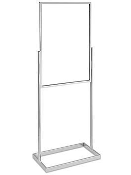 "Floor Standing Sign Holder - Single Tier, 24 x 36"", Chrome H-7014C"