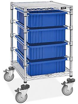 "4 Bin Restocking Cart - 20 x 15 x 6"" Blue Bins H-7027BLU"