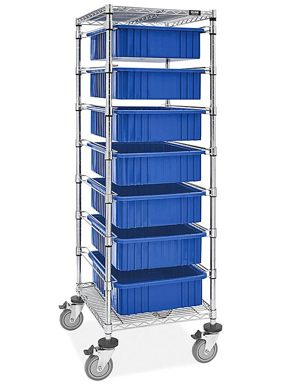 "7 Bin Restocking Cart - 20 x 15 x 6"" Blue Bins H-7028BLU"