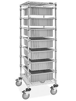 "7 Bin Restocking Cart - 20 x 15 x 6"" Gray Bins H-7028GR"